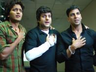 Movie Still From The Film Heyy Babyy,Riteish Deshmukh,Fardeen Khan,Akshay Kumar