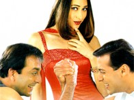 Movie Still From The Film Chal Mere Bhai Featuring Karisma Kapoor,Salman khan,Sanjay Dutt