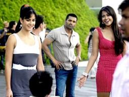 On The Sets Of The Film De Dana Dan Featuring Katrina Kaif,Suniel Shetty,Neha Dhupia