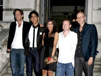 Photo Of Christian Colson,Dev Patel,Freida Pinto,Simon Beaufoy,Chris Dickens From Screening of 'Slumdog Millionaire' at Somerset House in London