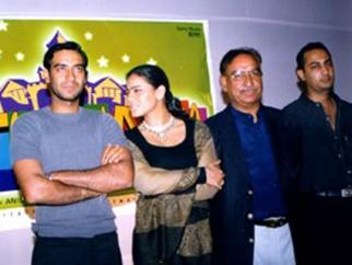 Photo Of Bharat Shah,Ajay Devgn,Kajol,Veeru Devgan,Anil Devgan From The Audio Release Of Raju Chacha