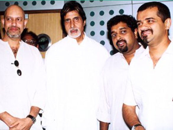 Photo Of Shankar,Ehsaan,Loy,Amitabh Bachchan From The Mahurat Of Honey Irani's Untitled Venture