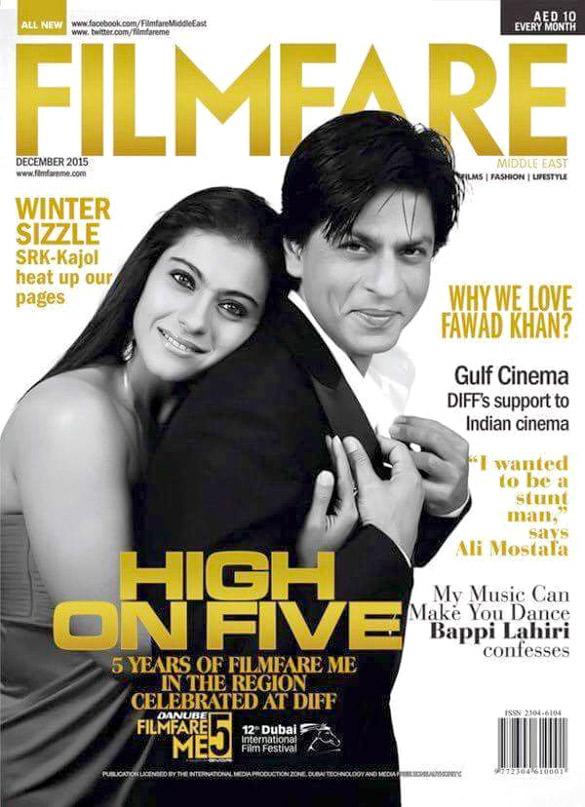 Kajol,Shah Rukh Khan On The Cover Of Filmfare,Dec 2015