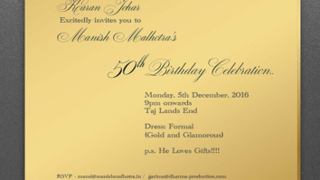 Check out Karan Johar's specially designed 'golden invite' for Manish Malhotra