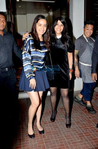 Shraddha Kapoor and Ekta Kapoor snapped post dinner at Bastian, Bandra