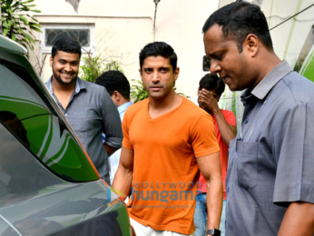 Farhan Akhtar snapped at Mehboob Studio today for an ad shoot