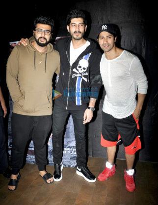 Varun Dhawan, Arjun Kapoor and Mohit Marwah snapped at the special screening of 'Raagdesh'