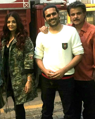 ON THE SET Anil Kapoor and Aishwarya Rai Bachchan strike a pose on the sets of Fanney Khan