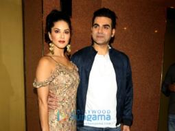 Sunny Leone and Arbaaz Khan at a press meet for Tera Intezaar