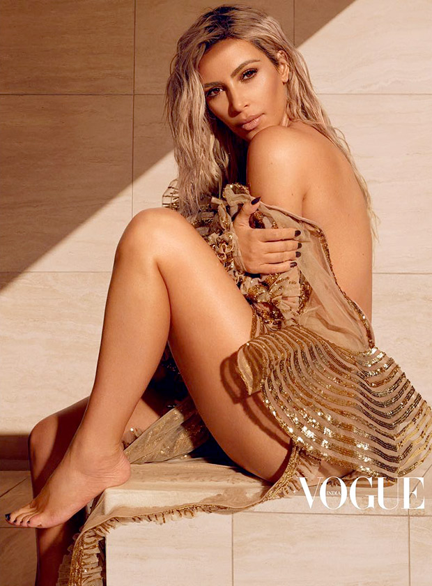 Shine and Sizzle – Kim Kardashian in a Falguni and Peacock dress for Vogue India