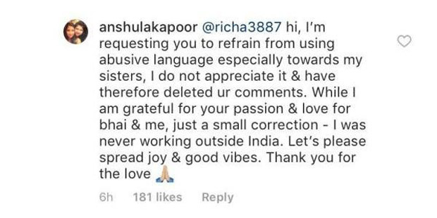 Anshula Kapoor blasts a troll for abusing Sridevi's daughters Janhvi Kapoor and Khushi Kapoor