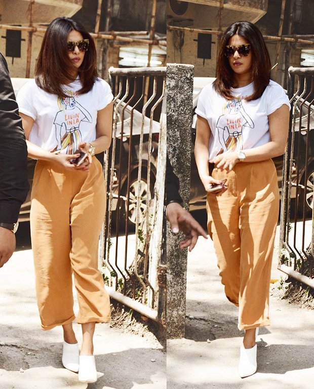 Priyanka Chopra teamed her Zara top with slouchy pants and Sergio Rossi shoes