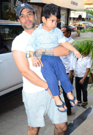 Tusshar Kapoor spotted at his son Laksshyas play school in Bandra