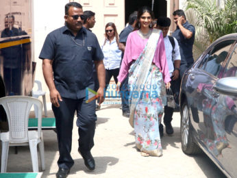 Cast of Veere Di Weedling snapped outside a studio