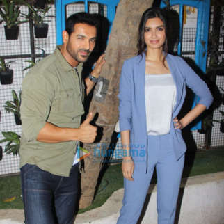 Diana Penty, John Abraham and Abhishek Sharma snapped doing media interactions for their film Parmanu at Bombay Adda