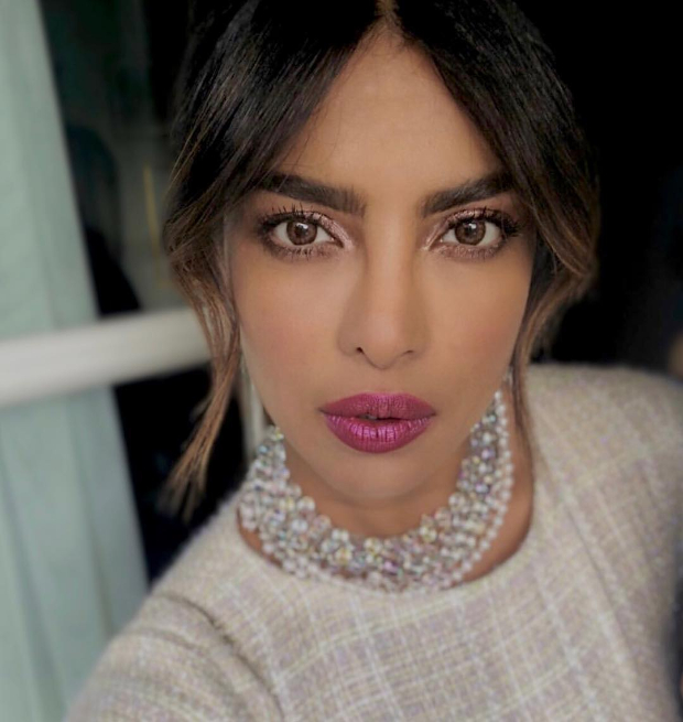 Priyanka Chopra flaunts metallic eyes and mauve pink lips for the Chanel dinner