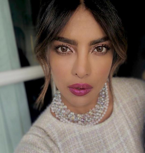 Priyanka Chopra flaunts metallic eyes and mauve pink lips for the Chanel dinner