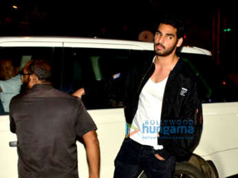 Ahaan shetty snapped with friends in Bandra