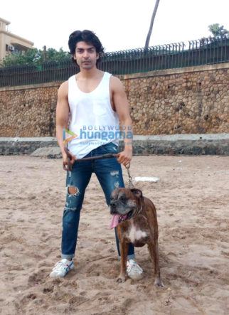 Gurmeet Choudhary snapped at Juhu beach with his dog