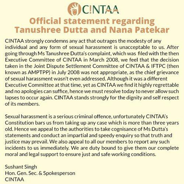 CINTAA stands by Tanushree Dutta's molestation charge against Nana Patekar but CANNOT re-open the case -01