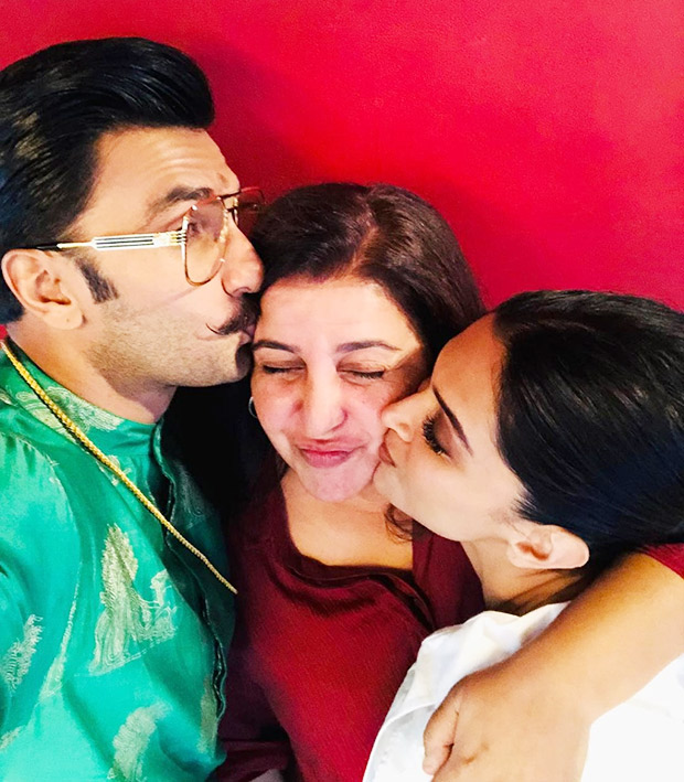 Ahead of their wedding Deepika Padukone and Ranveer Singh strike a pose with Farah Khan