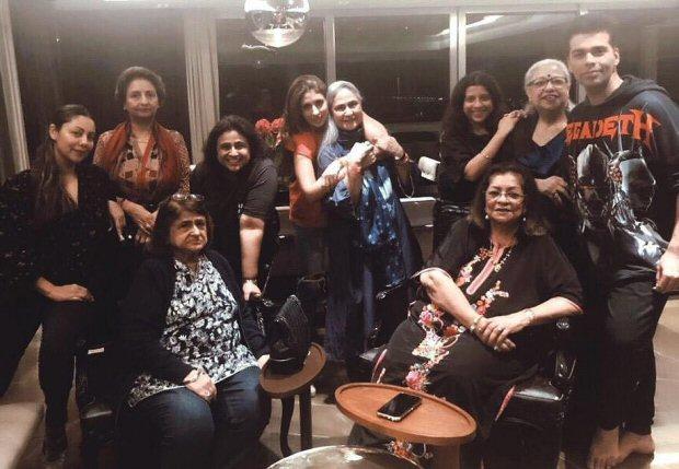 Karan Johar, Gauri Khan, Shweta Bachchan party with their mothers thumbnail