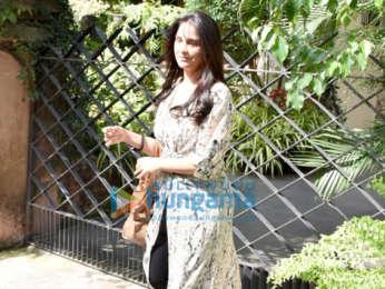 Lara Dutta snapped at a salon in Bandra