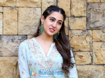 Sara Ali Khan snapped during media interactions for Kedarnath at JW Marriott in Juhu